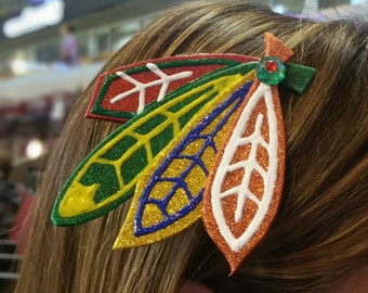 Sparkly Chicago Blackhawks Inspired Feather Barrette