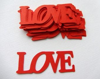Love Die Cuts Valentines Day Red Valentine die cut out word love Confetti