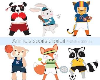 Sports animals Clipart ,cute animals clipart, sport clip art Instant Download PNG file - 300 dpi