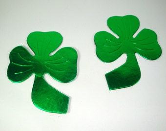 Set of 2 Shamrock Diecuts, St. Patrick's Day Decorations, Holiday Decor, Scrap Book Page, Green, Shiny  (569-12)