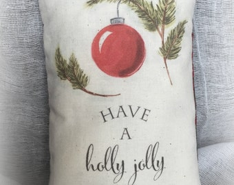 Christmas Pillow - Holly Jolly Pillow