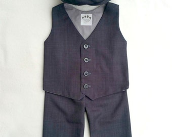 Charcoal Baby Suit, Toddler Boys Suit, Grey Baby Suit, Ring Bearer Outfit, Boys Suit, Gray Vest Hat Pants, Ring Bearer Suit, Baby Boy Suit