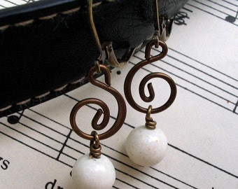 Treble Clef Earrings, Music Earrings, Music Lover, Vintage Style Earrings, Gift for Her Jewelry, Music Teacher