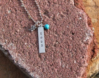 Hand Stamped Silver Mother's Necklace with Personalized Names with long Rectangle, Turquoise bead and Flower Charm