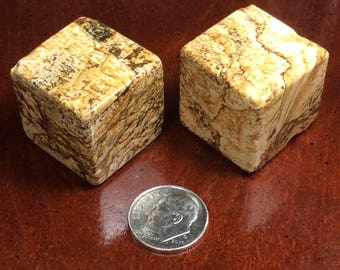 Picture Jasper, Gemstone Cube Beads, Unusual  Beads, 23mm Big Cubes, beading, Jewelry making. Full Drilled Diagonal 2mm hole, sold per bead