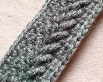Crocheted Arrow-Style Adult Light Blue Headband