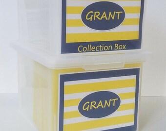 School Memory Box, School Keepsake Box, School Work Organizer, School Organizer, School Paper Storage  -PDF files-Blue/Yellow Stripes