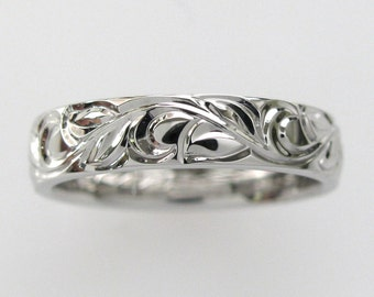 5mm Vine and Leaf Hand Engraved Wedding/Anniversary Band