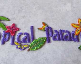 Tropical -Hawaiian Palm Tree, Tropical Paradise  - Application - Embroidered Iron On Applique Patch