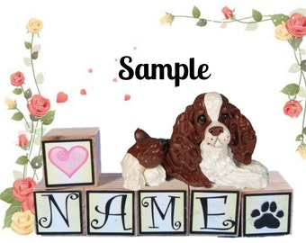 liver and white English Springer Spaniel dog PERSONALIZED with your dog's name on blocks by Sally's Bits of Clay