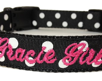Dog Collar - Personalized Black and White Dog Collar