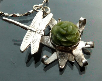 Dragonfly Star Flower Dance Spring flower with carved green jade in sterling silver necklace OOAK jewelry