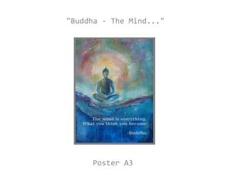 "Poster ""Buddha - The Mind..."" 12 x 16 "" Buddha quote Asia Zen Buddhism Om Meditation"