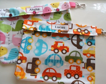 2 Personalized Clear Pouches with Clips for School Supplies Snacks First Aid Baby Gift Diaper Bag Insert (XL 7x9 You Choose Fabric & Label )