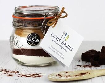 Chocolate Brownie Mix - Baking Mix in a Jar - Baking Gift - Baking Kit