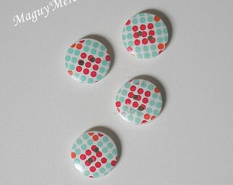 Button wood dots red and green 2 hole 18 mm set of 4