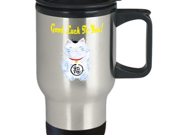 Lucky Cat Good Luck To You Travel Mug