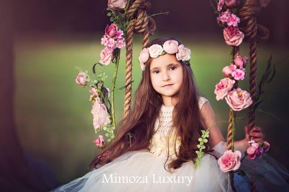 Flower girl dress, ivory flower girl dress, ivory tulle dress, princess dress, ivory crochet top tulle dress, ivory wedding tutu dress
