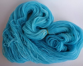Hand Dyed Yarn, Blue Skies From Now On - SW Merino/Nylon Fingering Wt.