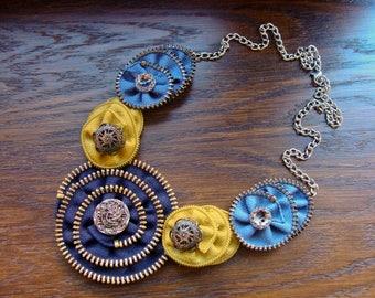 Handmade necklace, Zipper necklace, Zipper jewelry, Handmade jewelry, Blue necklace, Gift for her