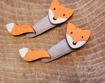 Red fox hair clip. Fox hair now. Baby fox accessories. Felt hair clips