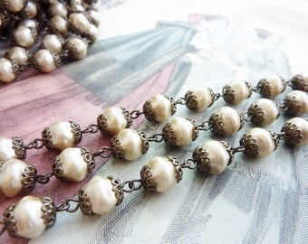 Bead Chain 8mm Baroque Glass Pearl Bead Chain Satin Taupe 18 Inch Section  #048