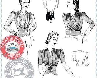 E-Pattern-  Dahlia- 1940s Gathered Blouse- Wearing History PDF Vintage Sewing Pattern