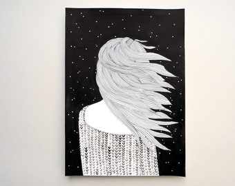 wind in hair, universe girl, universe woman, starry night, universe art, universe drawing, universe illustration, hair art, hair drawing