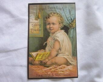 C 1885 Victorian Trade Card Prof Horsford's Baking Powder Super Cute