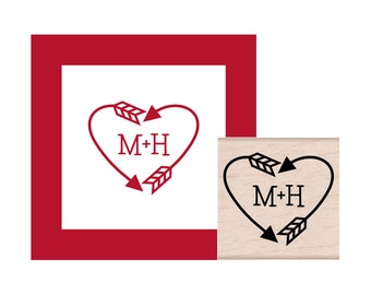 Arrow Heart with Initials Personalized Rubber Stamp