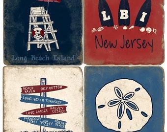 LBI Long Beach Island Italian Marble Coasters