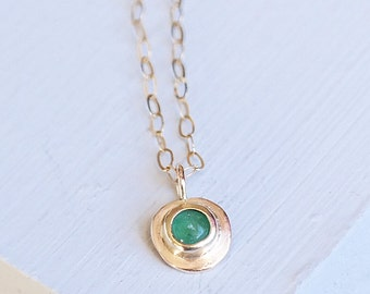 Gold Necklace, Emerald Necklace, Emerald Jewelry, Birthstone Necklace, Gold Emerald Necklace, 9ct Gold Pendant, Gemstone Necklace, Emerald