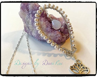 Pearl chalcedony sterling silver wire wrapped pendant necklace with lotus pendant, one of a kind!