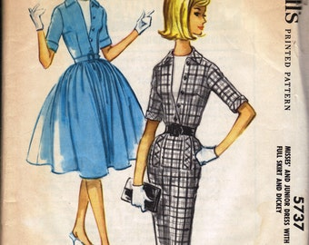 Bust 36-1960 Misses' Dress With Slim or Full Skirt and Dickey  McCall's 5737  Size 16