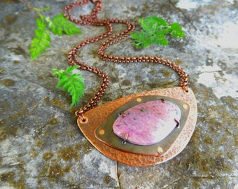 Cobalto calcite necklace | Boho copper pendant | Copper Metalwork necklace | Natural stone statement necklace | Boho necklace Rustic pendant