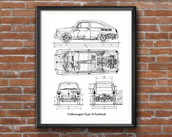 "Volkswagen Type 31 Fastback, VW Classic Fastback, Blueprint Decor, Instant Download, VW, Blueprint Art, VW Blueprints, 8x10"", 11x14"", 16x20"""