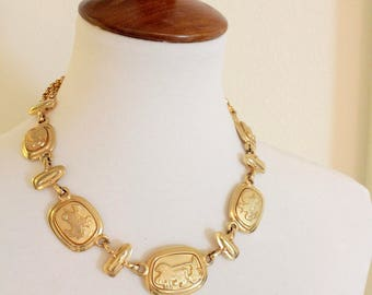 Signed Paolo Gucci   1980s Goldtone Etruscan style / Cameo style  Statement  necklace  #1683