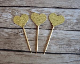 Set of 10+ Love Heart cupcake toppers - Gold Glitter - Valentine's, Wedding, Bridal Shower, Baby Shower Cake topper