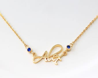 Custom Name Necklace with birthstone - Personalized Name Jewelry - Children Names Necklace - Family Gifts - Christmas Gift