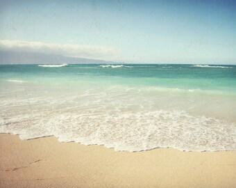 "Tropical beach wall art - Hawaii ocean print -  pale aqua blue beach art - pastel seashore Maui - living room wall art  ""By the Sea"""