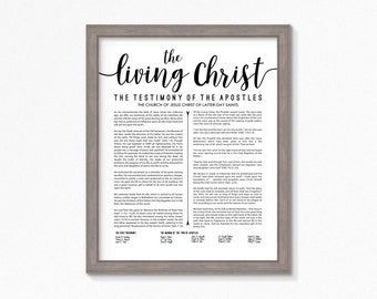 The Living Christ-Printable-LDS-Multiple Size Choices Available-Black Text-Digital File-LDS art-Living Christ poster printable
