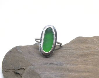 Green Sea Glass Ring, Seaglass Ring, Sterling Sea Glass Ring, Size US 7.75 Sea Glass Ring, Sterling Lake Ring