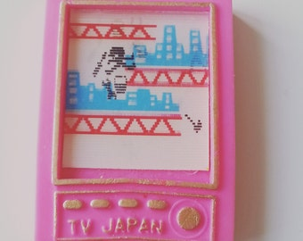 Vintage, 80s, 1980s, eraser, moving picture, Japan tv, rubber, gommi, gommini,  pink,Japan, computer game, by NewellsJewels on etsy