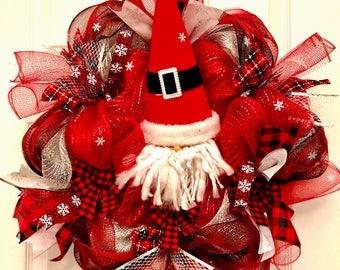 Gnome wreath, Christmas gnome wreath, christmas wreath, santa wreath, whimsical wreath, holiday wreath, christmas decor
