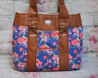 Evelyn Floral tote handbag diaper bag purse with caramel faux leather accents and lots of pockets
