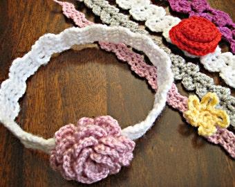 PDF Crochet pattern Baby headband Any size, 6 headbands 4 flowers Nr.18 Instant Download