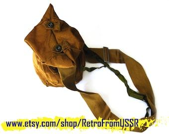 Soviet Vintage Gas Mask Bag, Vintage Military Crossbody Bag, Soviet Army Gas Mask Bag, USSR Soldier Shoulder Bag, Made In USSR.