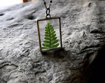 Fern Necklace / Botanical Necklace / Plant Locket / Fern Leaf / Glass Locket / Square Locket / Fern / Boho Jewelry / Necklace/ Wanderlust
