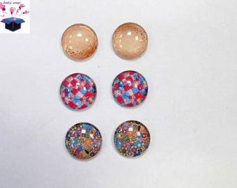6 glass cabochons 18 mm as pictured lot number 73