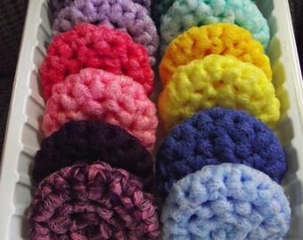 12 - Pot Scrubbers - All Nylon, Multi-colored, 2 Ply,  Crocheted, Scrubbies - 1 dozen